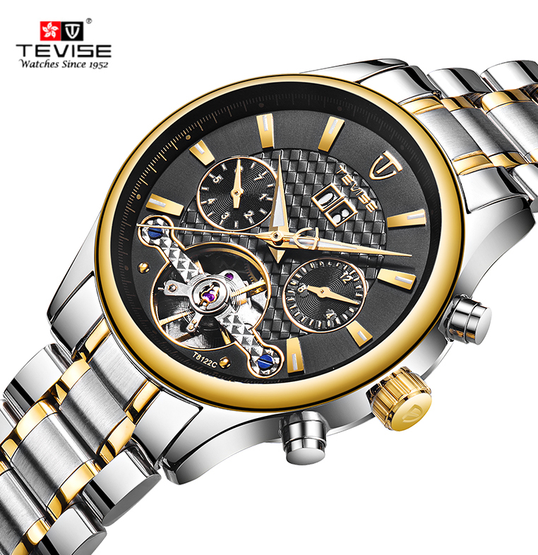 TEVISE Stainless Steel Men Business Wristwatch Luminous Luxury Automatic Mechanical Watch Water-Proof Calendar/Week/Month + BoxTEVISE Stainless Steel Men Business Wristwatch Luminous Luxury Automatic Mechanical Watch Water-Proof Calendar/Week/Month + Box
