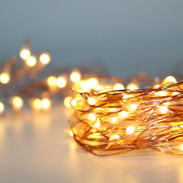 10x5m 3m 3aa Battery Operated Fairy Lights Christmas Room Decor Mini Silver Copper Wire Party Led Decoration In Holiday Lighting From