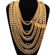 New Fashion 8-18mm Wide 16-40 inch Men Gold Color Stainless Steel Miami Curb Cuban Link Chain Necklace Or Bracelet Jewelry