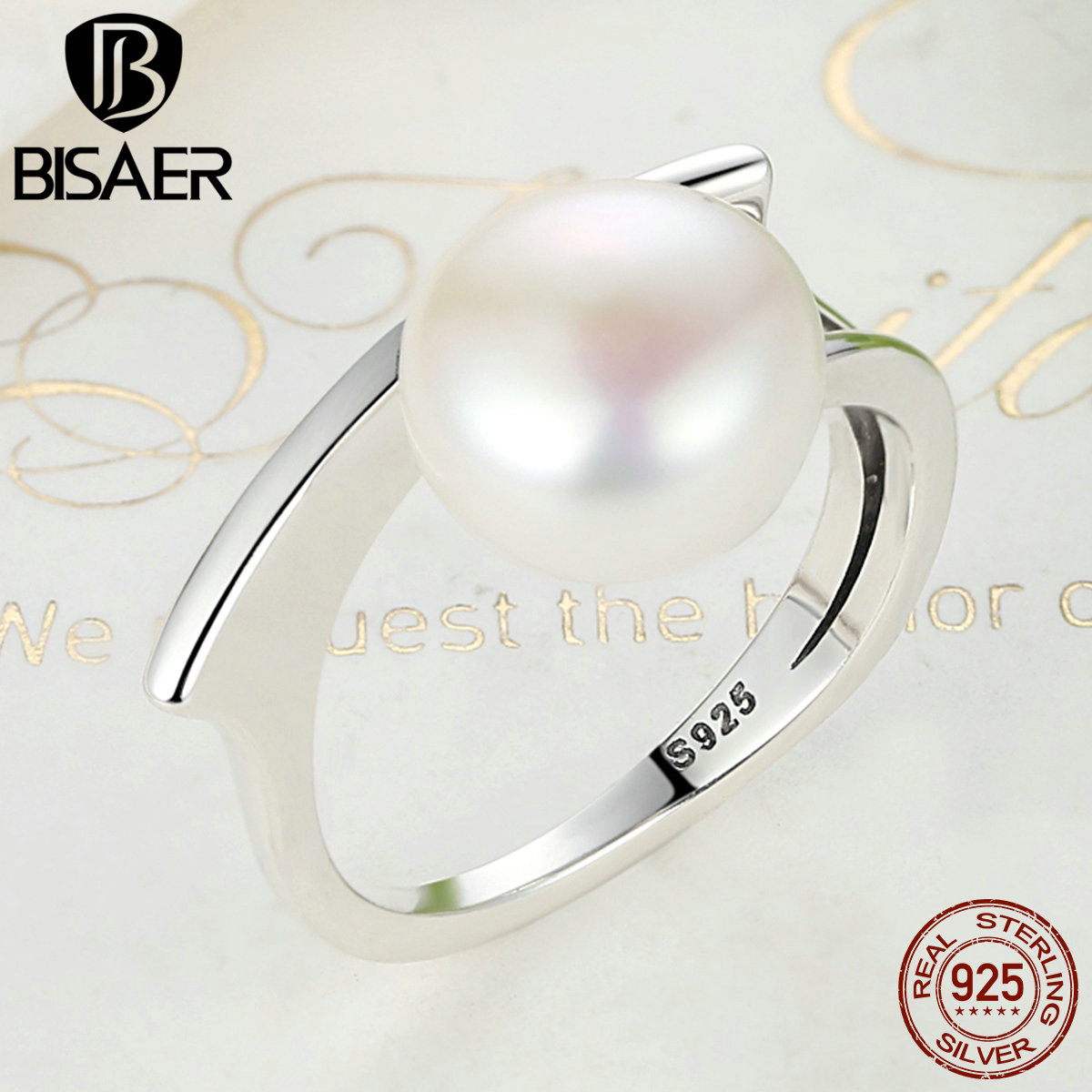 BISAER Authentic 925 Sterling Silver Freshwater Cultured Pearl Female Ring Women Wedding Band Engagement Ring Jewelry S925
