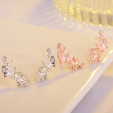 Bow Tie Zircon Sterling Silver Fashion Earrings Jewelry