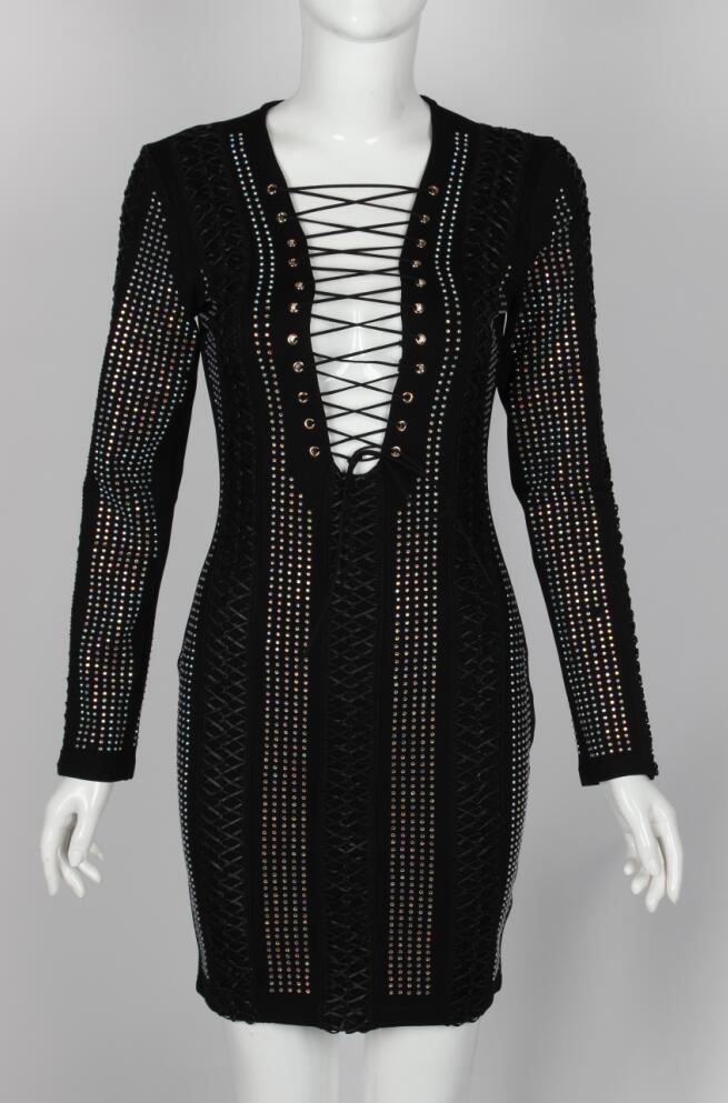 Mini robe décontracté plage fête élégant court noir à manches longues diamant festa crayon goth gothique 2018 femme été printemps