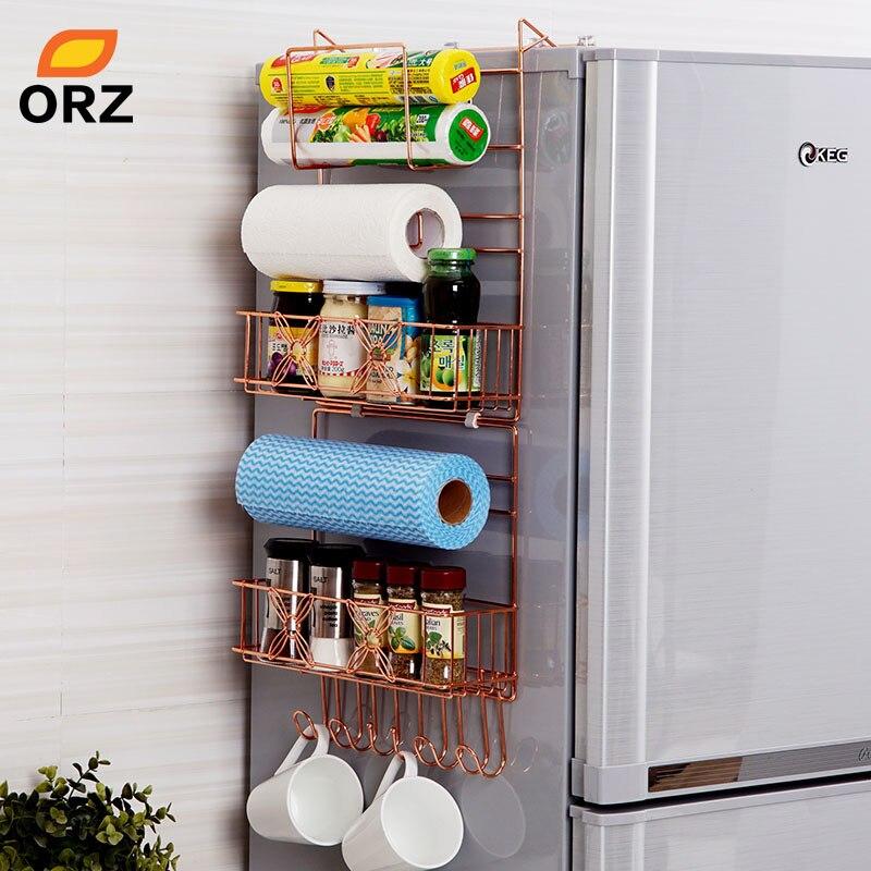 ORZ Frigorifero Bordata Scaffale Cremagliera Fianco Multiuso Mensola Crepa Rack di Storage Multi-strato Da Cucina Organizzatore