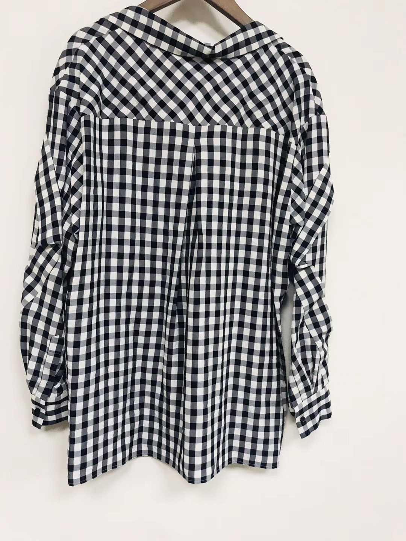 2019 nouveau noir et blanc plaid goutte épaule manches dentelle blouse décorative - 5