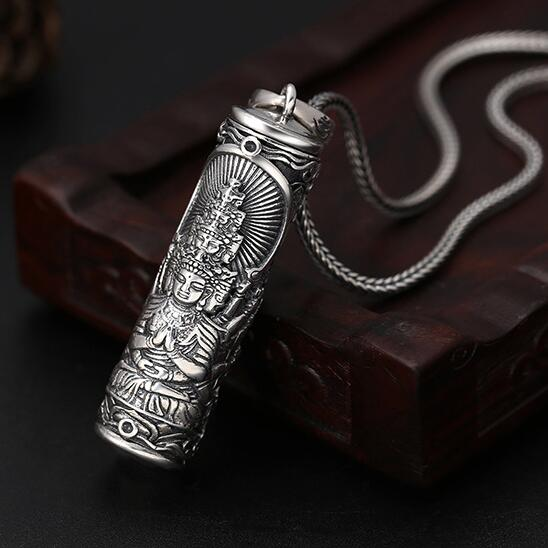 100 925 Silver Buddha Gau Box Pendant Necklace 925 Sterling Buddha Box Pendant the Chinese Zodiac