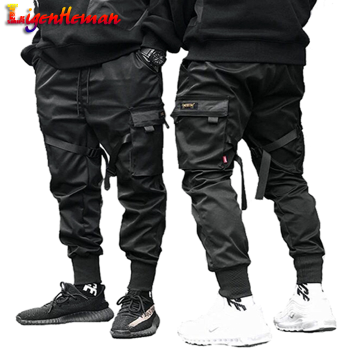 Trousers Ribbons Cargo-Pants Pocket Joggers Harajuku Harem Color-Block Hip-Hop Black