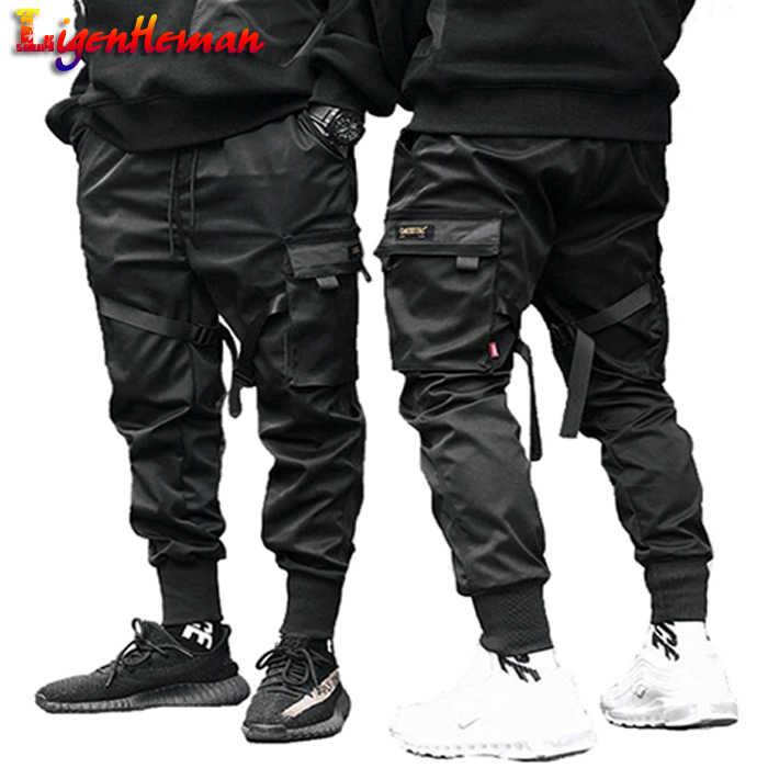 Pantalones Cargo Con Bolsillo Negro Para Hombre Pantalon De Chandal Harajuku Haren A La Moda La8p36 2019 Pantalones Tipo Cargo Aliexpress