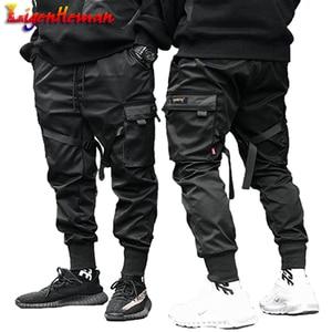 Image 1 - Men Ribbons Color Block Black Pocket Cargo Pants 2019 Casual Fashion Harem Joggers Harajuku Sweatpant Hip Hop Trousers LA8P36