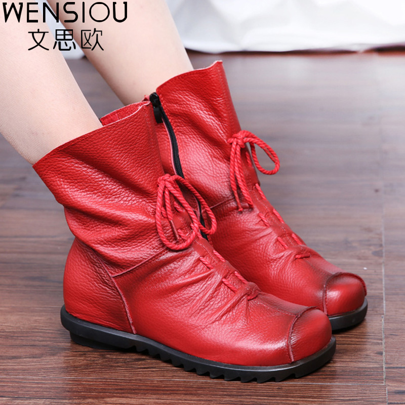2018 Women Winter Casual Snow Boots Solid Genuine Leather Boots Female Fashion Autumn Ankle Boot Shoes Lady Footwear DT1032 2017 cow suede genuine leather female boots all season winter short plush to keep warm ankle boot solid snow boot bota feminina