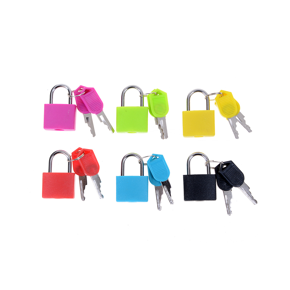 6 Colors Small Mini Strong Steel Padlock Travel Tiny Suitcase Lock With 2 Keys For Travel Accessories