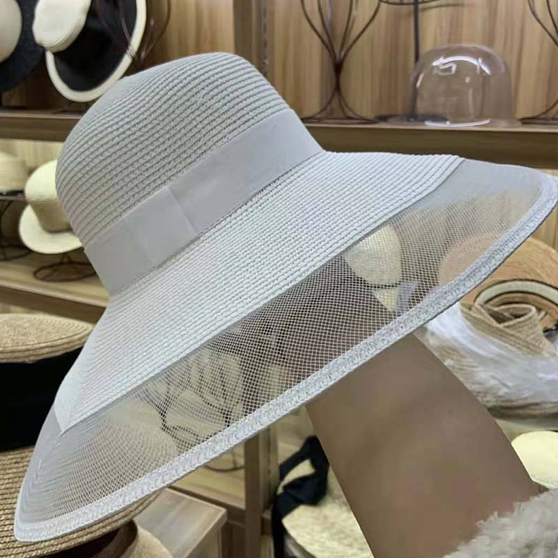 Image 2 - Fascinating Veil Netting Sun Hat UPF 50+ Ladies Kentucky Derby Hats Wide Brim Straw Hat Women Summer Beach Cap Fedoras Dress Hat-in Women's Sun Hats from Apparel Accessories