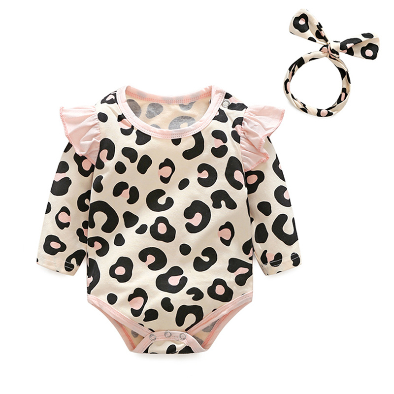 0b09d4e09890 Xirubaby Autumn Baby Girl Clothes Set Newborn Leopard Rompers+pants+ ...