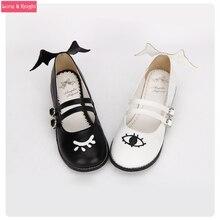 Le Diable et Angle Eye & Wing Noir et Blanc Gothique de Lolita Chaussures Talon Carré Mary Jane Chaussures