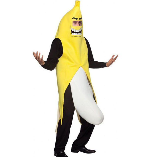 free shipping Men Cosplay Adult Fancy Dress Funny sexy Banana Costume  novelty halloween Christmas carnival party