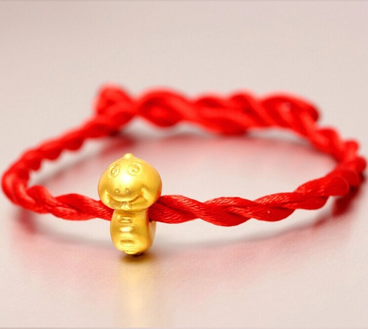 Fashion Arrival 3D 999 24K Yellow Gold 12 Chinese Zodiac Cute Snake knitted Bracelet stainless steel chinese zodiac keychain snake