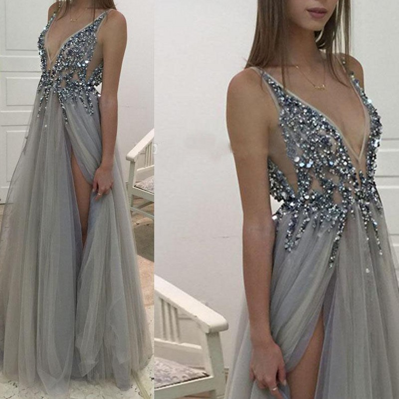 HGS225 Front Split Sexy V Neck Evening Dresses Grey Color Fully Beaded Long Prom Gowns Evening