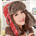 Free Shipping 2016 New Fashion Winter Warm Deer Snowflake Faux Fur Red Trapper Hat Winter Cap