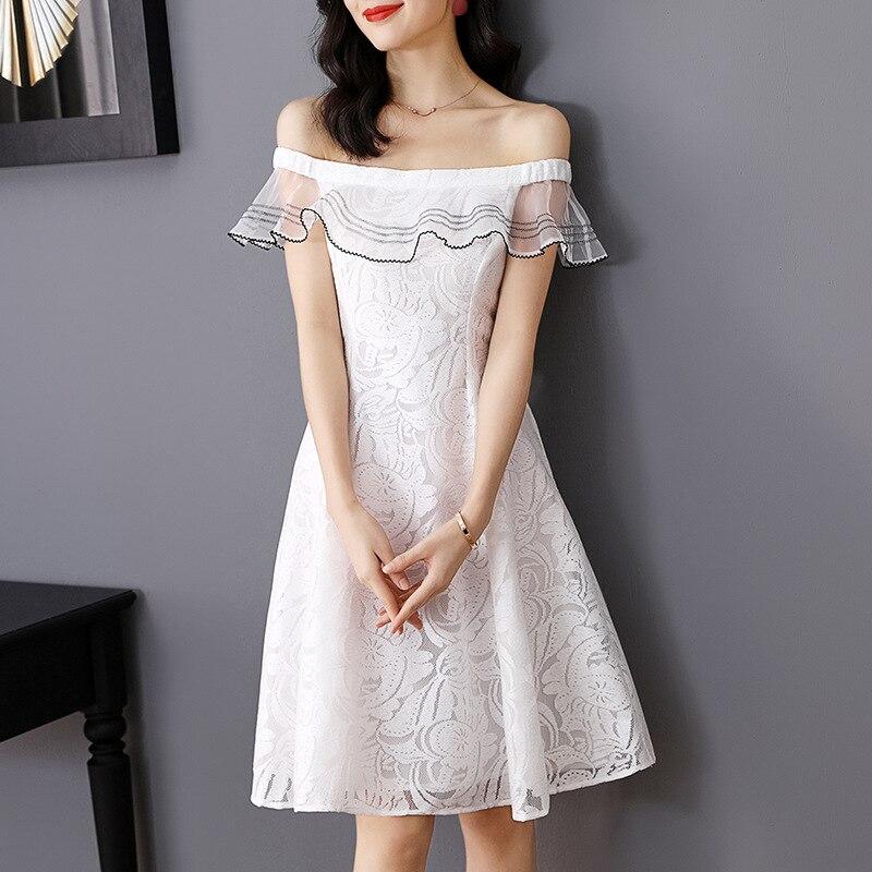 Haute qualité marque dentelle robe 2019 printemps été Sexy partie hors épaule robe dames Slim Fit & Flare parti Club robe blanc