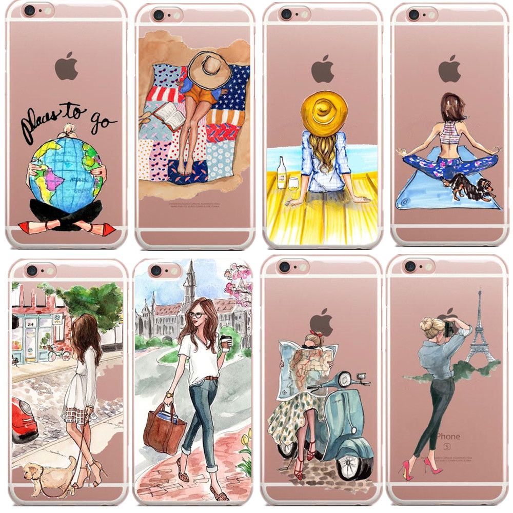 Paris fashion girl Clear TPU Phone Case Cover for iPhone 5 5s SE 6 6S Plus  Summer Outing Travel Relax Beach For iPhone X 8 8Plus 4565f7fc21ac