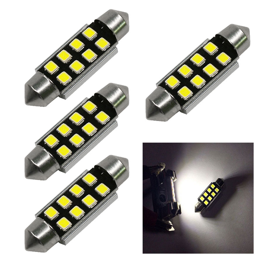 4PCS Festoon 2835 SMD 31MM 36MM 39MM 42MM Car LED Bulbs Interior Dome Festoon Lights Auto Roof Lamp White 12V