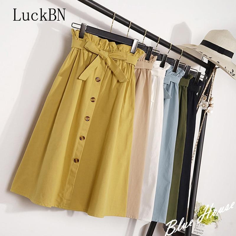 Summer Autumn Skirts Womens 2020 Midi Knee Length Korean Elegant Button High Waist Skirt Female Pleated School Skirt Fashion Hot