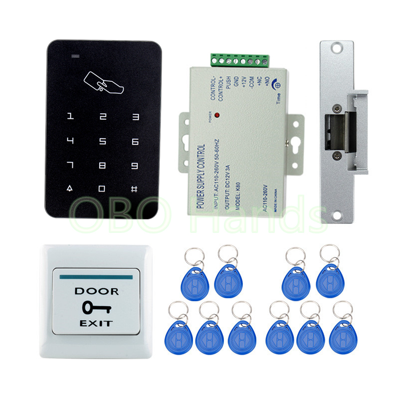 Very Cheap RFID Door Access Control System Kit Set Digital Keypad+ NC Strike Door Lock+ 10 keyfobs + Power Supply + Exit Button