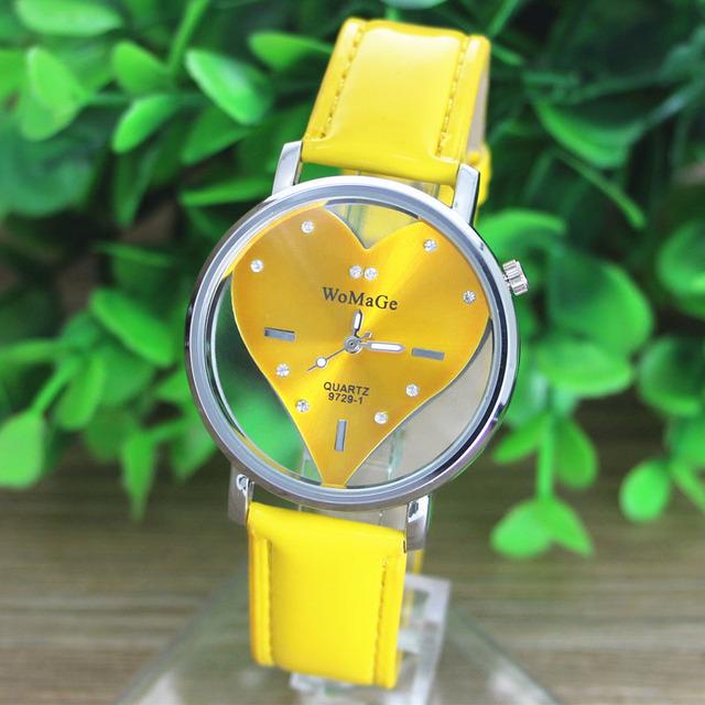 2016 New models Simple fashion women watch famous brands PU Leather Transparent Dial Hollow Heart Analog Quartz lady Wrist Watch