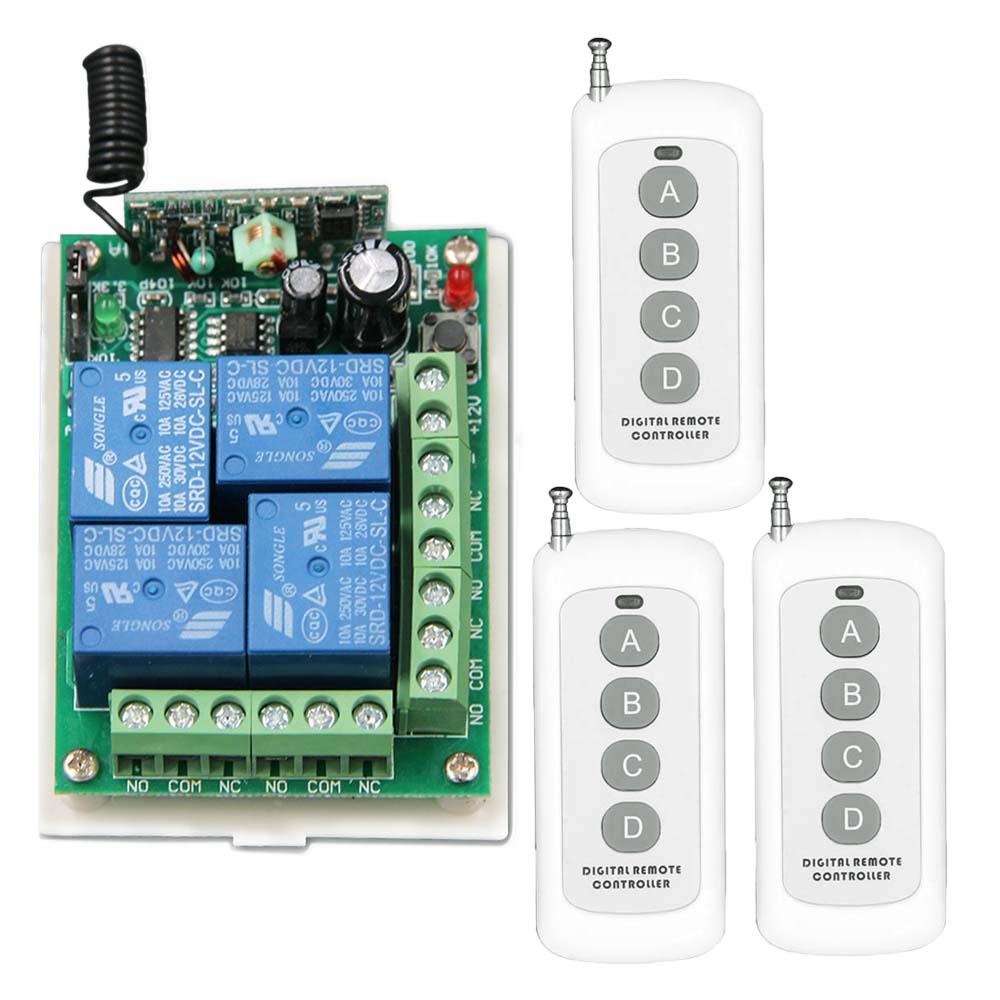 500M DC 12V 4 CH 4CH RF Wireless Remote Control Switch System,3 X Transmitters + Receiver,315/433.92MHZ наборы для выращивания растений вырасти дерево набор для выращивания ель канадская голубая