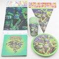 46 pcs copos talheres pratos guardanapos bandeira do aniversário dos miúdos decorações do partido tablecover teenage mutant ninja turtles para 12 crianças