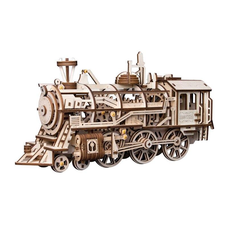 Nouveau bricolage mécanique engrenage entraînement Locomotive 3D en bois modèle Kits de construction jouets loisirs adultes enfants de cadeau modèles mécaniques