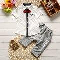 Crianças meninos roupas de verão define crianças de algodão sólida roupas criança manga curta tops t shirt