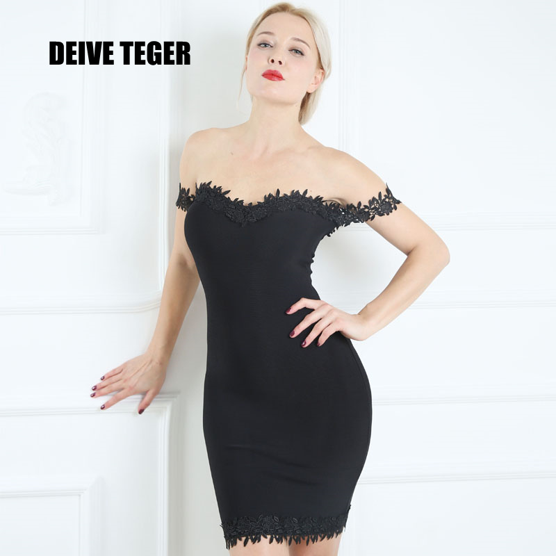 DEIVE TEGER New Arrival Off The Shoulder Appliques Bandage Fashion Sexy Vestidos Women Mini Dress HL2199