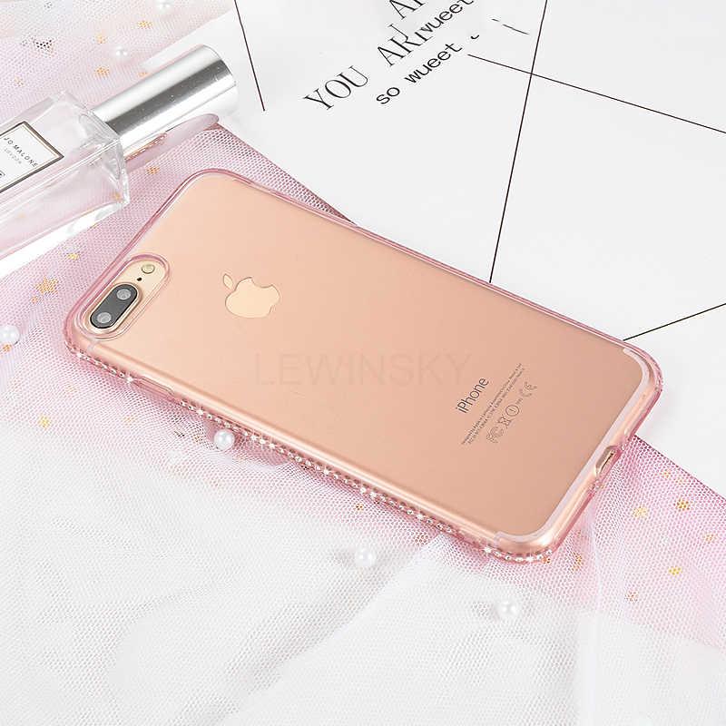 เพชร TPU ซิลิโคนโทรศัพท์สำหรับ iPhone XS MAX 6 5 s XR X 8 7 6 s Plus 5 s SE Case ซิลิคอน Rhinestone Bling