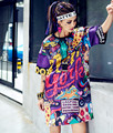 Harajuku Негабаритных Долго майка Женщины Свободные Топы Лето 2017 Vestidos Печатных Письмо ХИП-ХОП Танец Одежды Женщины Топы Tee