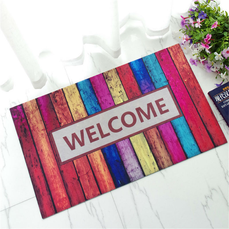 Welcome Doormat Printed Tapetes Bath Mat For Living Room Bathroom Plastic  Carpet Mats Wholesale Rugs Non