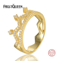 FirstQueen 925 Sterling Silver My Princess Queen Crown Engagement Ring With Clear CZ Authentic Sterling Silver