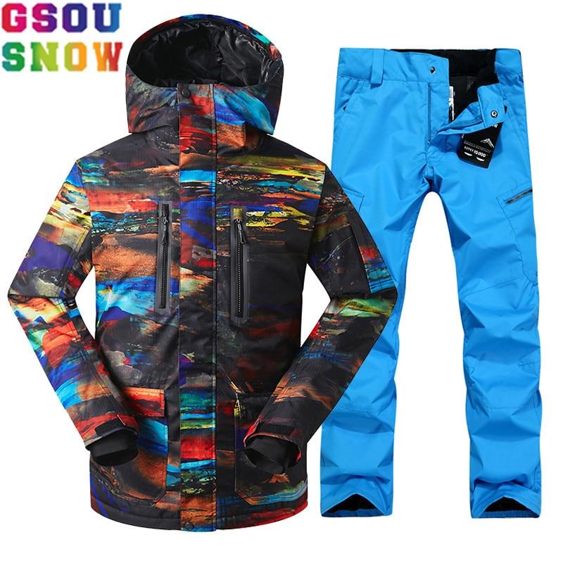 GSOU NEIGE Marque Ski Costume Hommes de Ski Veste Pantalon Ensembles Imperméables Snowboard Pas Cher Mâle Montagne Ski Costumes Sport En Plein Air Vêtements