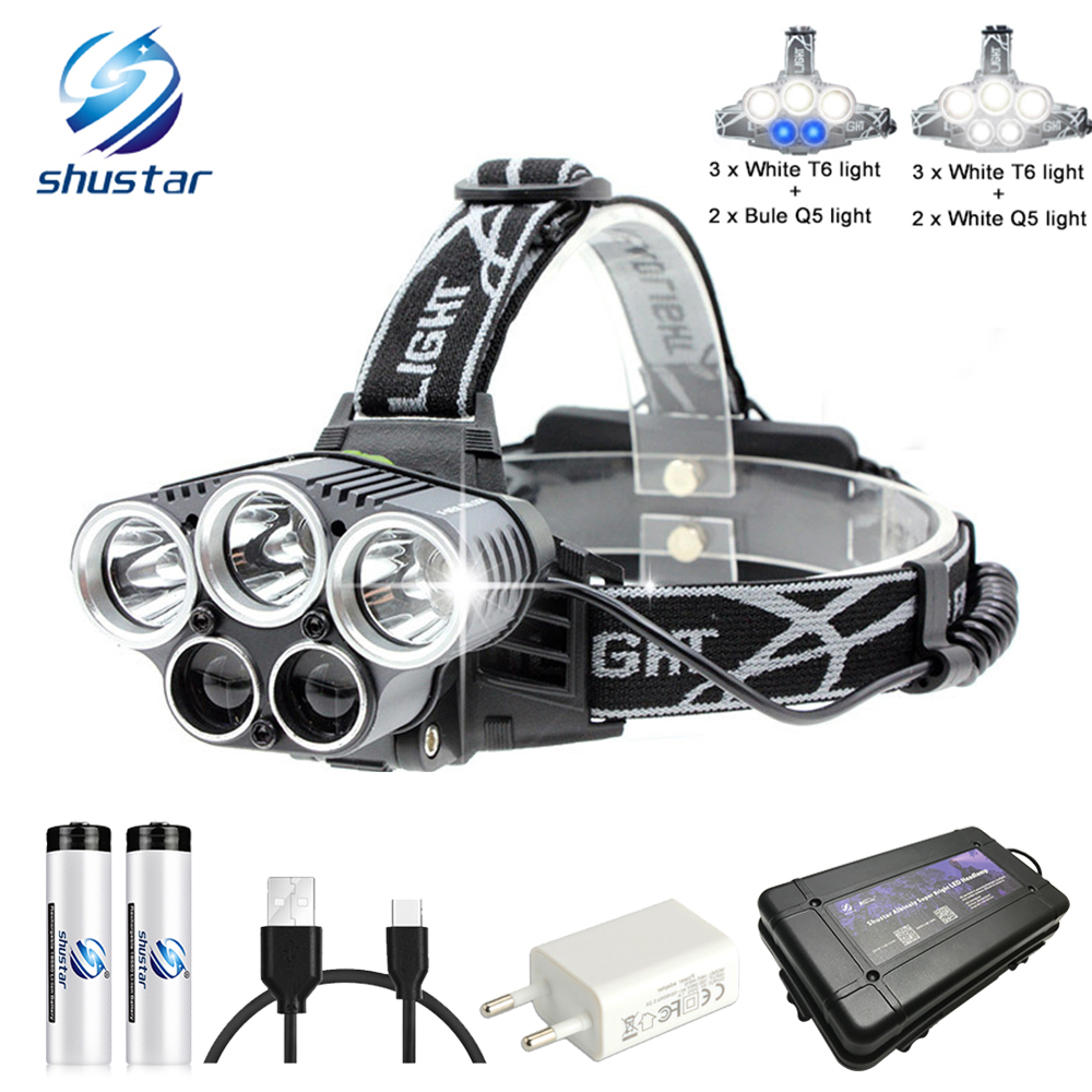 USB rechargeable LED Headlamp 5 white light or 3 white   2 bule light waterproof led headlight fishing lamp use 18650 battery