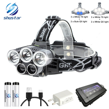USB rechargeable LED Headlamp 5 white light or 3 white + 2 bule light waterproof led headlight fishing lamp use 18650 battery
