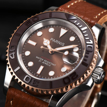 Casual Parnis 40MM Brown Dial Men Watch Leather Strap Miyota 8215 Sapphire Cryst