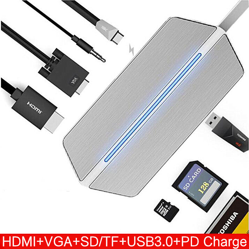 US $40 85 5% OFF|Type c HDMI to VGA Converter USB C HUB RJ45 Card Reader PD  For Lenovo ideaPad 320 310 520s 720s 500 700 Miix 520 330 300 Laptops-in