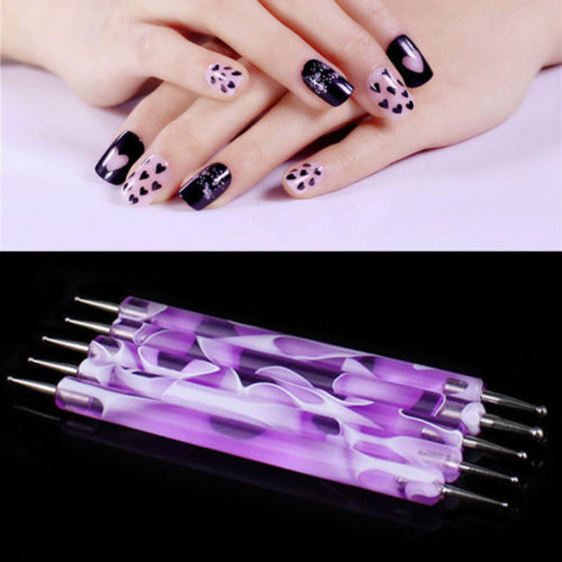 2pcs Nail Art Painting Draw Brush Dotting Pen Tools Decoration For