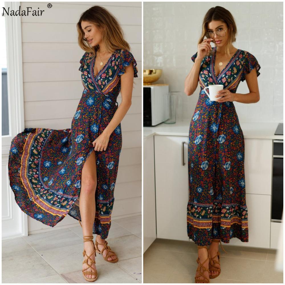 Nadafair Vintage Floral Maxi Dresses Elegant Beach Sash Sexy V Neck Split Print Tunic Long Summer Boho Dress Women Vestidos 2