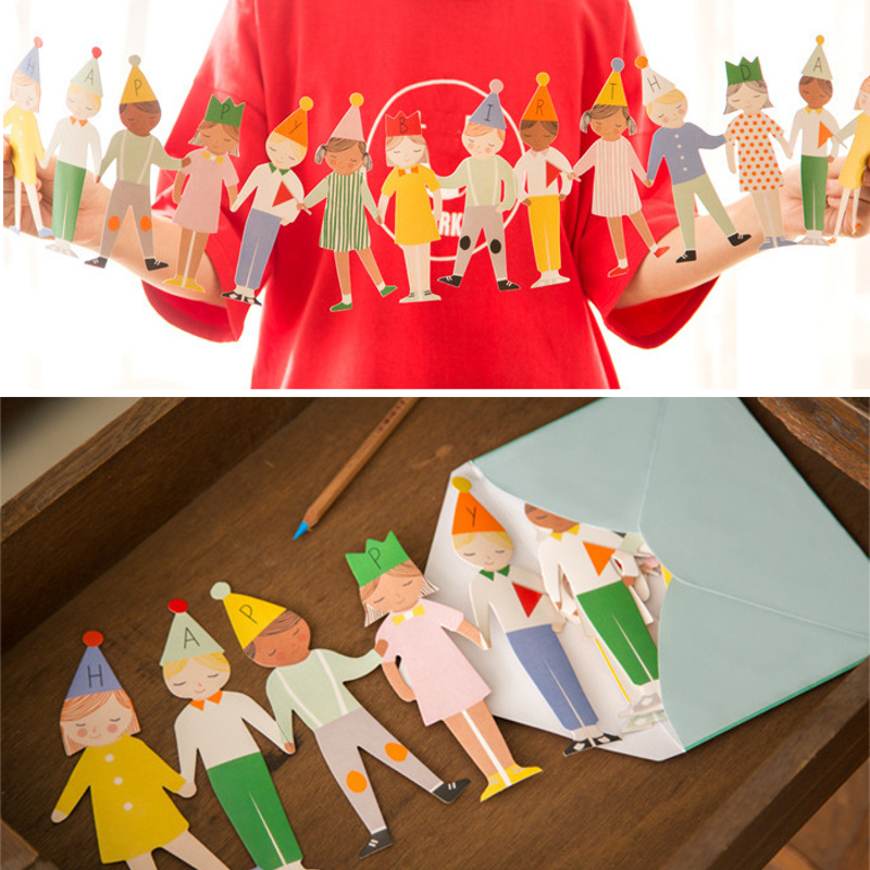 Kids Hands-on Stereo Festival Party Handmade Toy Card Party Triangle Paper Flag Decorations DIY Kids Gift Toy Card
