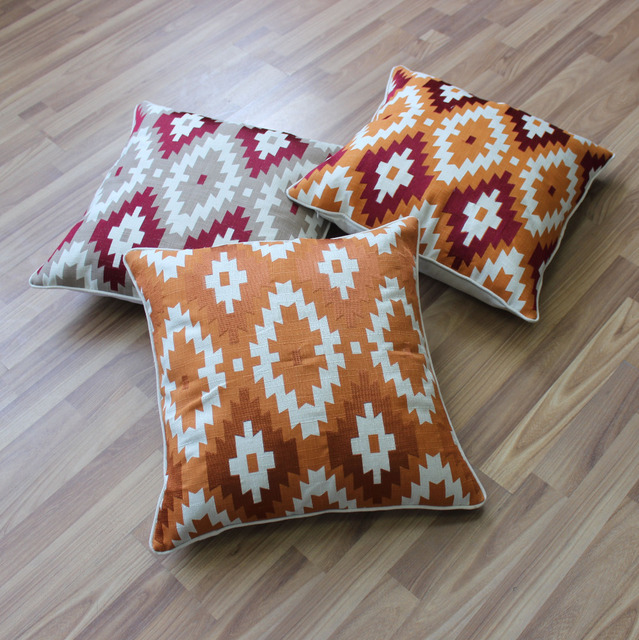 VEZO HOME 3pcs/pack embroider geometric linen sofa cushions cover home decorative throw pillows cover chair seat pillowcase 20""