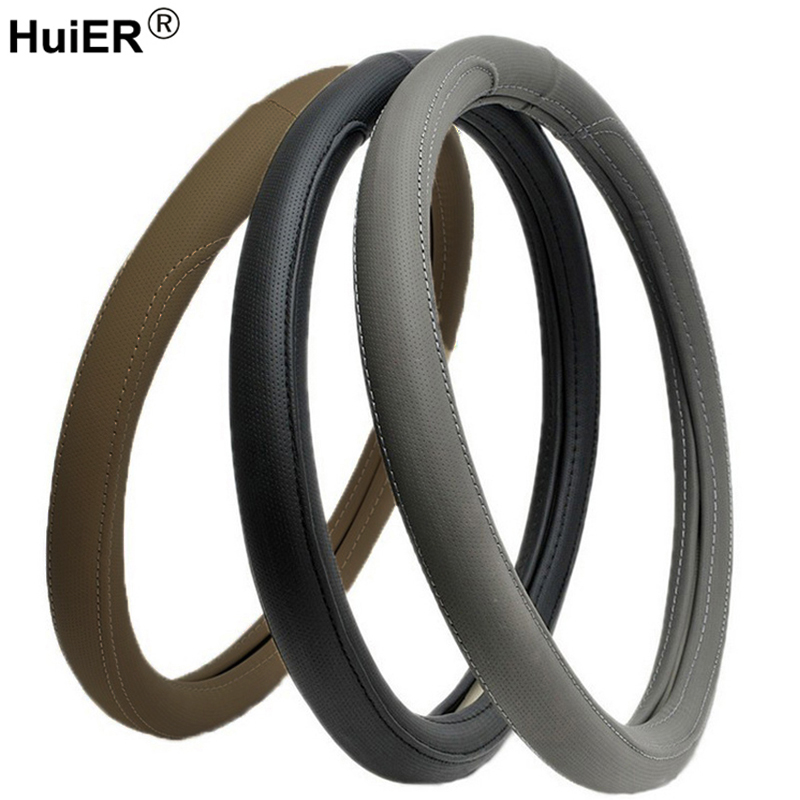 HuiER Car Steering Wheel Cover High Quality Soft PU Leather Anti-Slip For 38CM Auto Car Steering-Wheel Protector Free Shipping dermay car steering wheel cover sport style steering cover soft anti slip for 38cm 15 steering wheel car styling free shipping