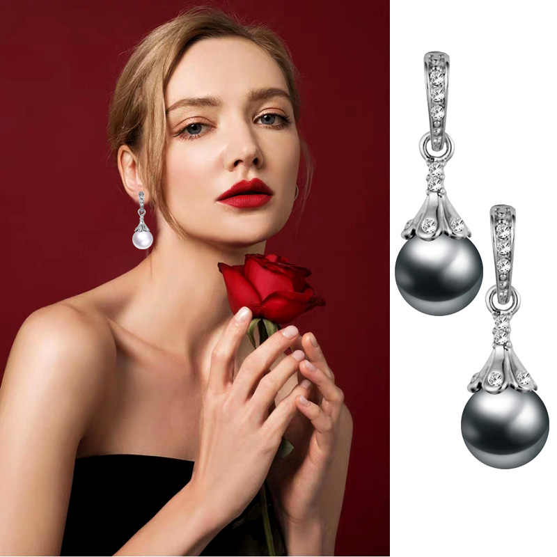 LEEKER Women Vintage Wedding Jewelry Gray White Imitation Pearl Earrings Female Drop Earings 91754 LK12
