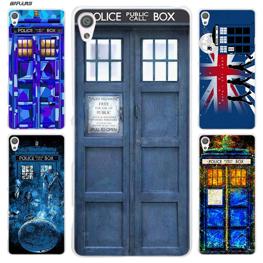 Binful Tardis Box Doctor Who Clear Cover Case For Sony Xperia Xa Xa1 X Xz Z5 Z1 Z2 Z3 M4 Aqua M5 E4 E5 C4 C5 Compact Premium Phone Bags & Cases