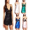 2017 conjuntos de lingerie sensuais das Mulheres sólidos Lace Baby Dolls Sexy top tiras estreitas + Shorts Calças de Pijama Sleepwear tamanho Grande XL-4XL