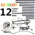 12Pcs/set  2 Million 18 Colors Motorcycle LED Neon Flexible Strips Light Lighting Kit With Remote Controller